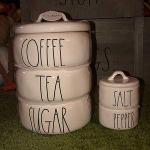 Rae Dunn COFFEE TEA SUGAR & SALT PEPPER Stacks